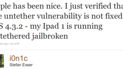 Apple hasn't Fixed Untethered Vulnerability in iOS 4.3.2 [CONFIRMED]