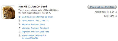 Mac OS X 10.7 Lion GM Seed Released To Developers [Download]