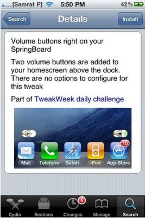 SBVolume Brings You Volume Control Buttons on your iPhone Springboard