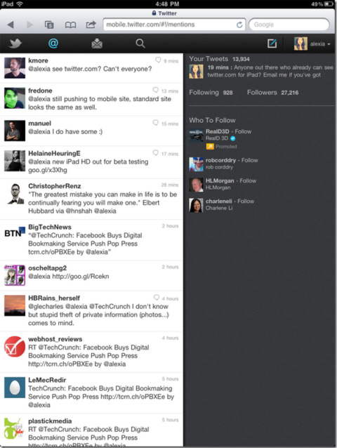 Twitter Launches A New HTML5 Version Of Twitter.com For iPad