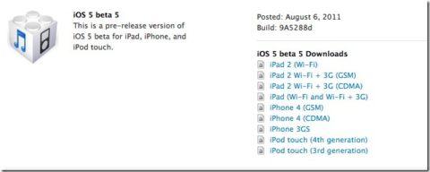 iOS 5 Beta 5 Released