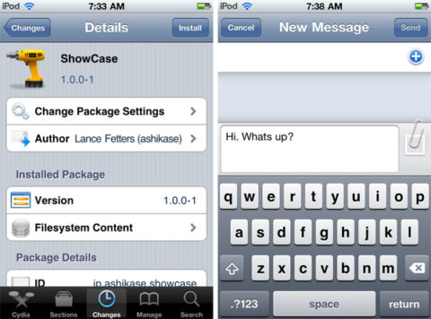 ShowCase: A Cydia tweak that displays lowercase letters, when the Shift key is off