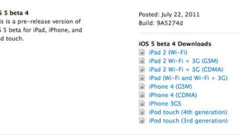 iOS 5 Beta 4  Released For Developers