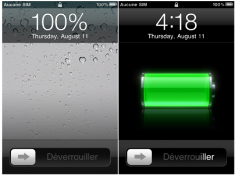 Displays the percentage of battery in the lock screen with LSBattery [Cydia]