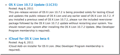 New Seed Of Mac OS 10.7.2 And iCloud For Mac Beta 6 Released